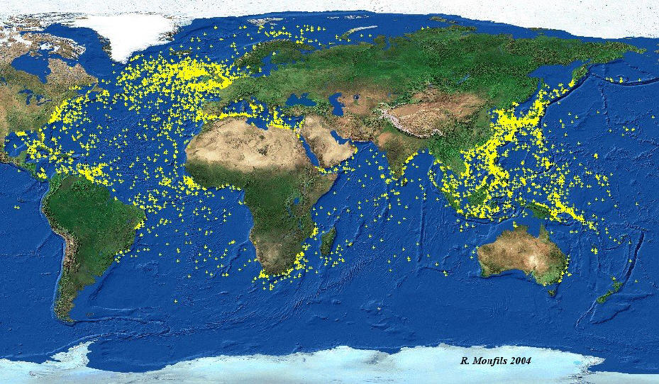 Current world map showing location of WWII shipwrecks from the Sea Australia